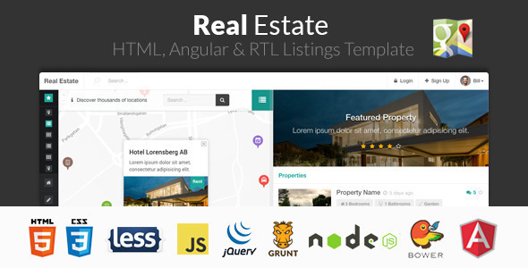 Real Estate – HTML, Angular & RTL Listing Template