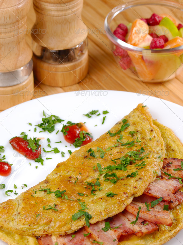 Omelet with bacon - Stock Photo - Images