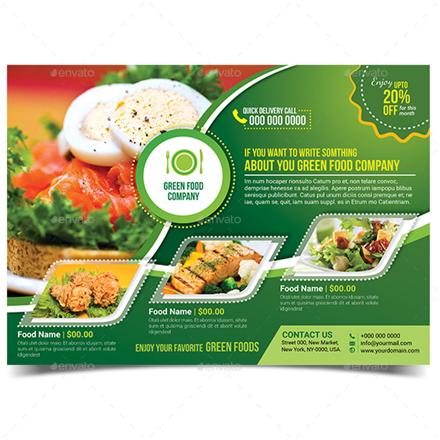 Green Food Flyer Template by aam360 – Green Flyer Template