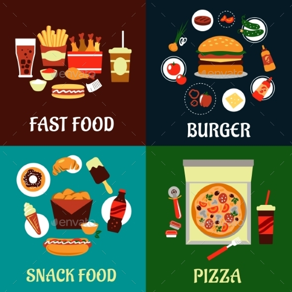 Fast Food and Takeaway Flat Icons - Food Objects