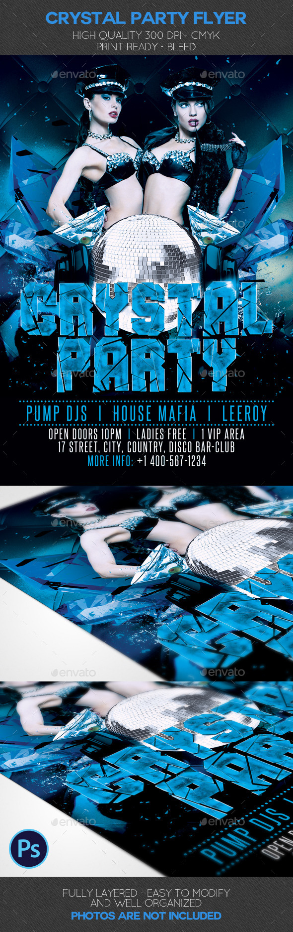 Crystal Party Flyer Template - Clubs & Parties Events