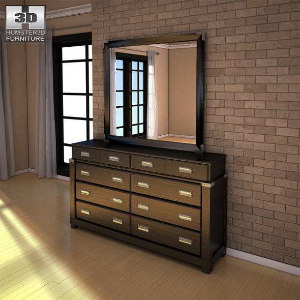 Ashley Diana Dresser & Mirror - 3D model.