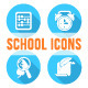 Round Flat School Icons White Silhouettes - GraphicRiver Item for Sale