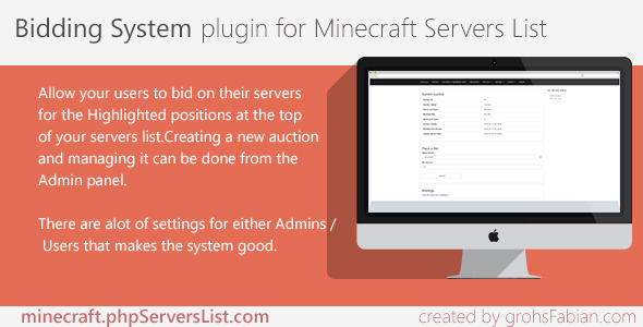 Bidding System for Minecraft Servers List - CodeCanyon Item for Sale