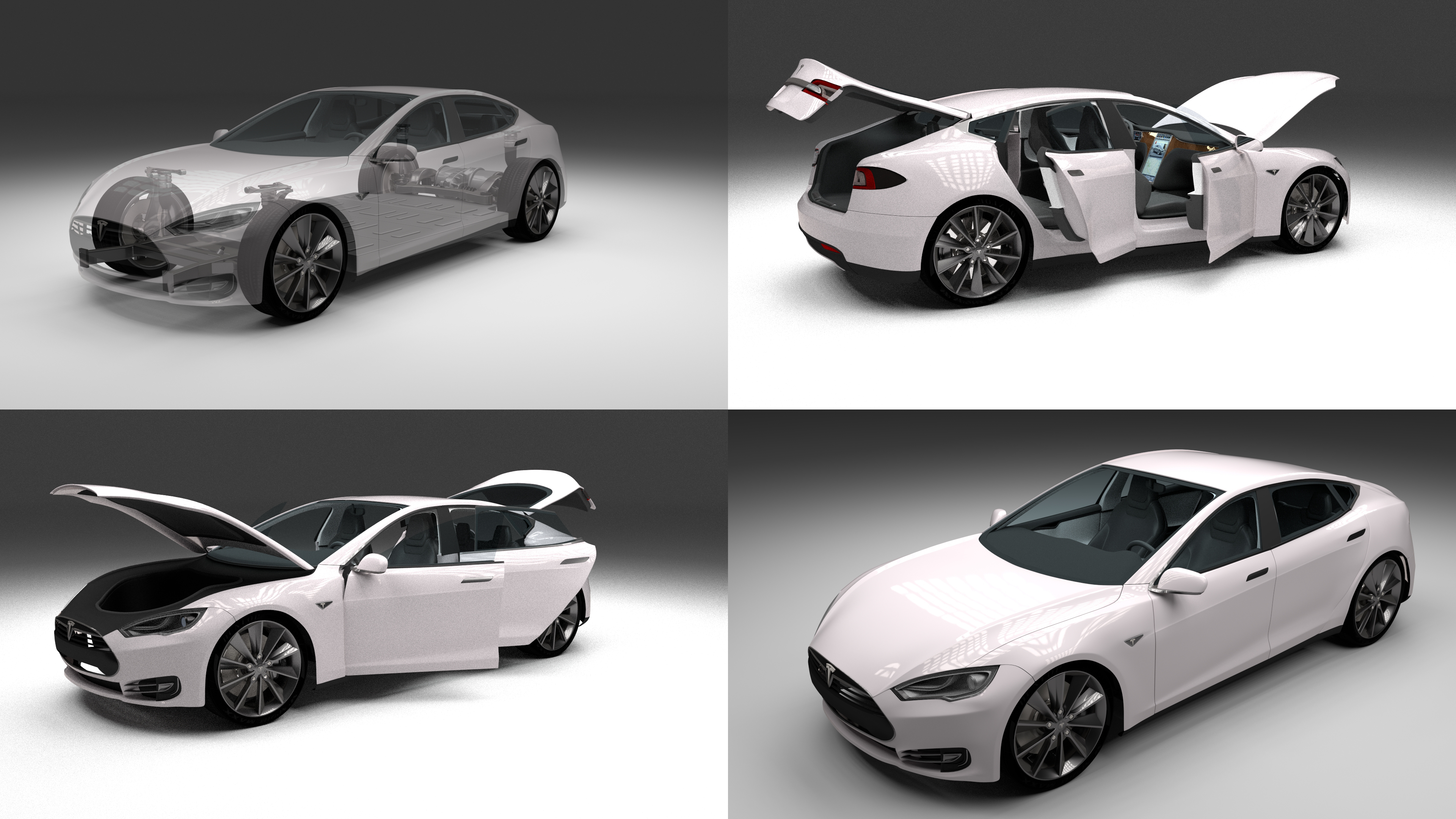 Tesla Model S With Chassis Interior By Dragosburian 3docean