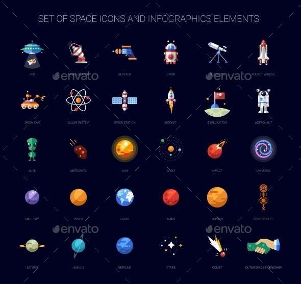 Set of Space Icons and Infographics Elements - Miscellaneous Vectors