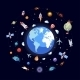 Flat Design Illustration of Earth with Space Icons - GraphicRiver Item for Sale