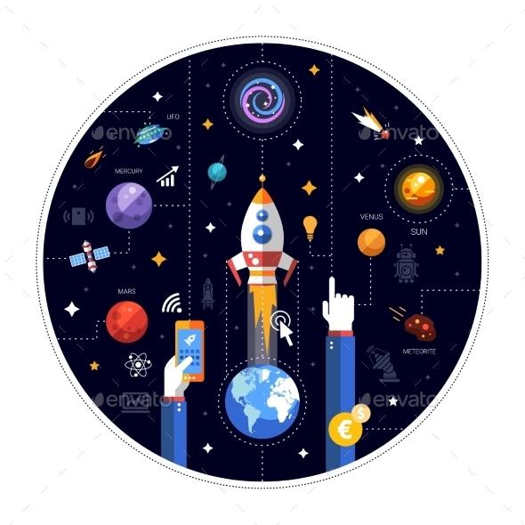 Flat Design Illustration of Rocket Launch