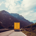 truck on the road.  Yellow cargo car - PhotoDune Item for Sale