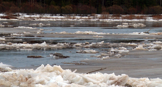 Ice break and  drift on the river