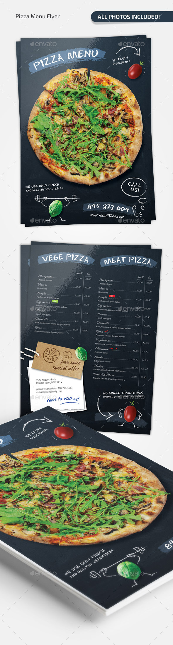 Pizza Chalkboard Menu - Food Menus Print Templates