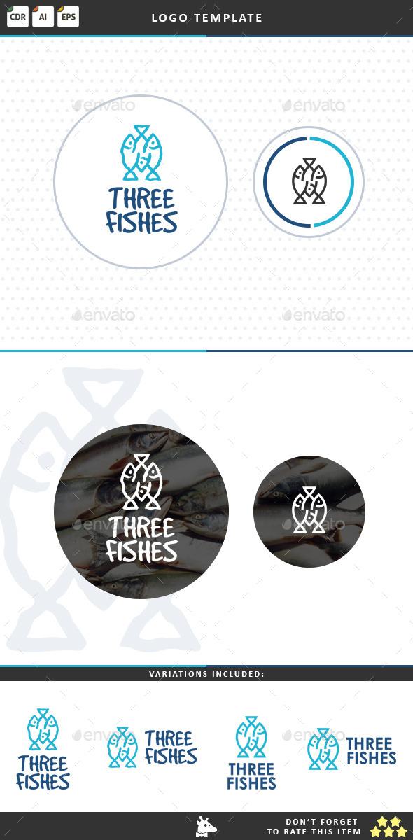 Three Fishes - Food Logo Templates