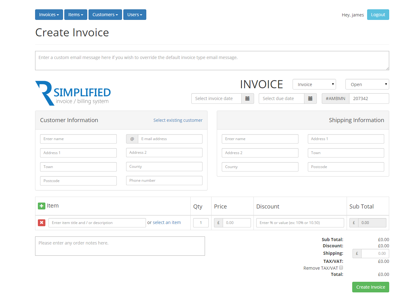 Simplified php invoice billing system by hostandname for Table design using php