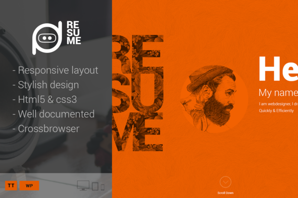 Resume - One-Page Creative CV WP Theme - Personal Blog / Magazine