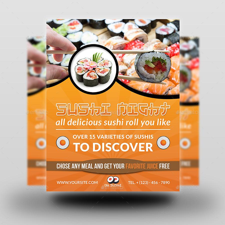 sushi restaurant flyer by owpictures graphicriver. Black Bedroom Furniture Sets. Home Design Ideas