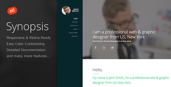 Synopsis – Resume/CV and Portfolio Template