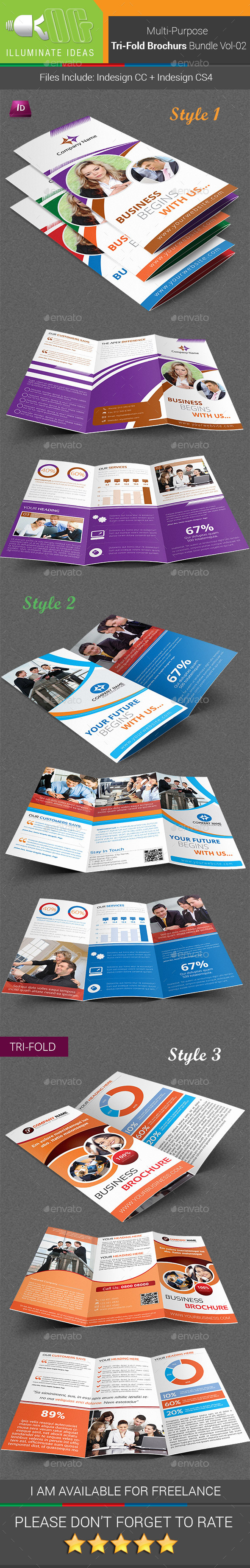 Multipurpose Tri-Fold Brochures Bundle Vol-02 - Corporate Brochures