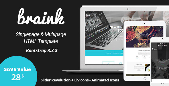 BRAINK - Multipurpose One Page / Multi-page Template  by FourGraFx