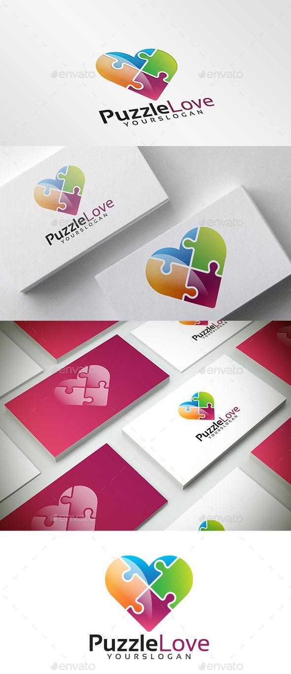 Colorful Puzzle Heart Logo - Symbols Logo Templates