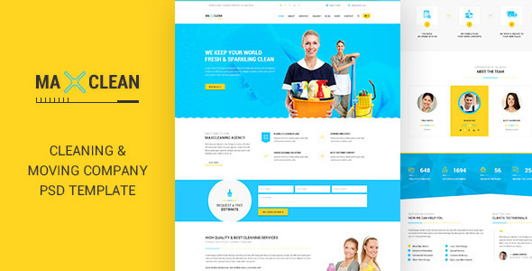 Max Cleaners & Movers – PSD Template