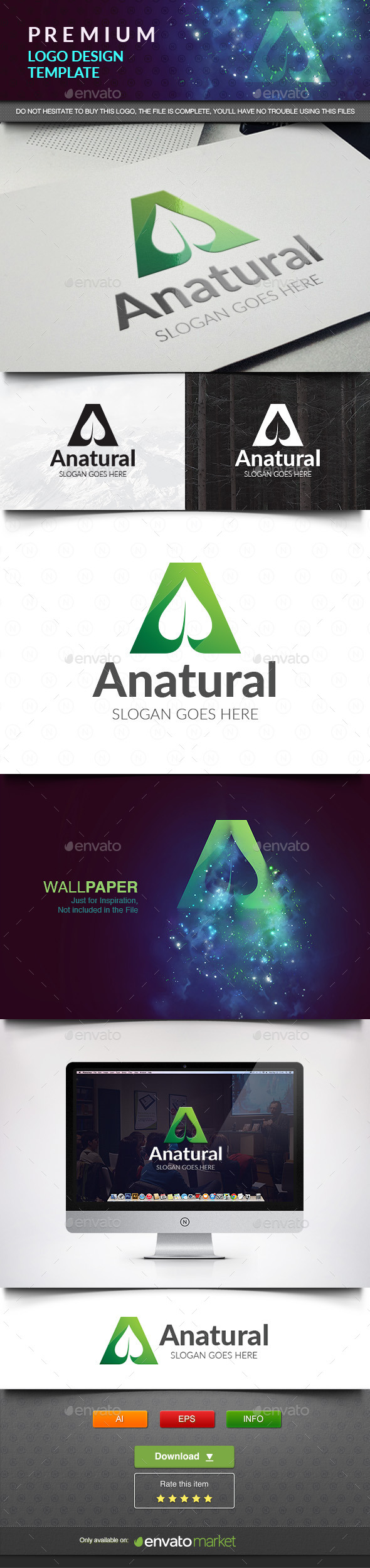 Anatural Green Leaf - Letters Logo Templates