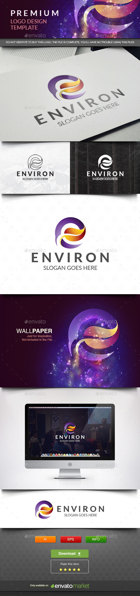 Environ E Leaf - Abstract Logo Templates