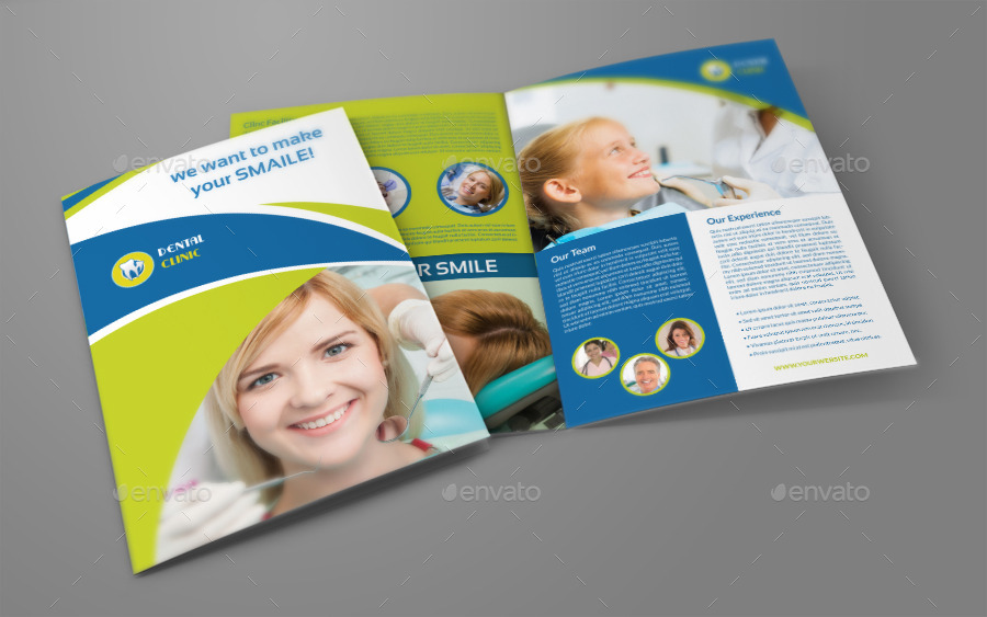 dental clinic bi fold brochure template