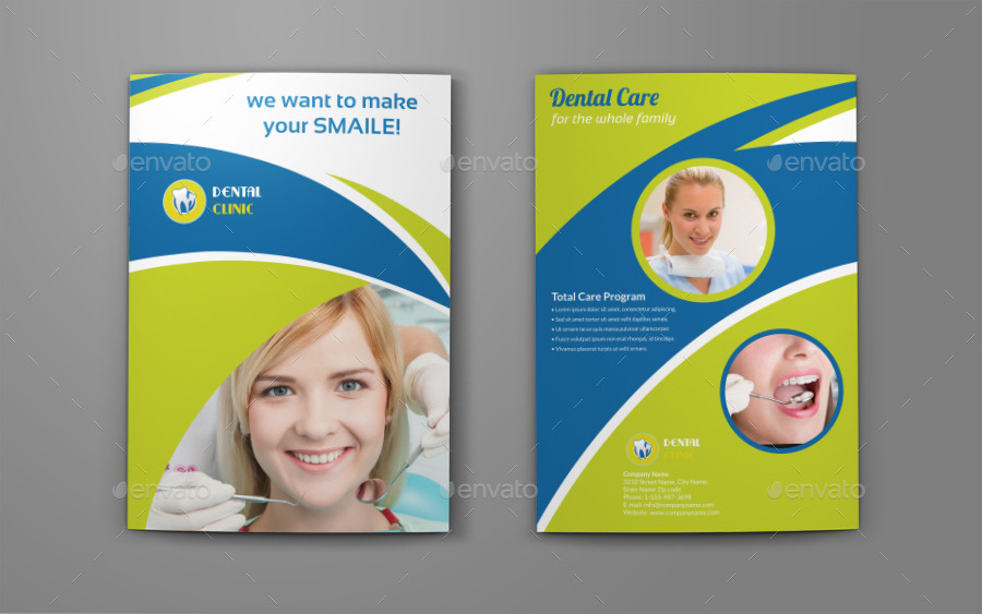 Dental Clinic Bi-Fold Brochure Template By Owpictures | Graphicriver