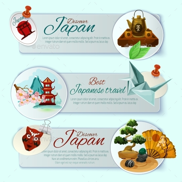 Japan Travel Banner Set - Travel Conceptual