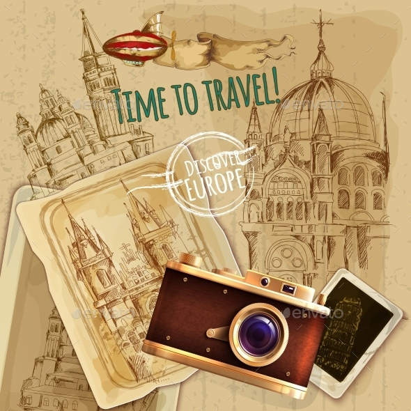 Europe Travel with Camera Vintage Poster - Travel Conceptual