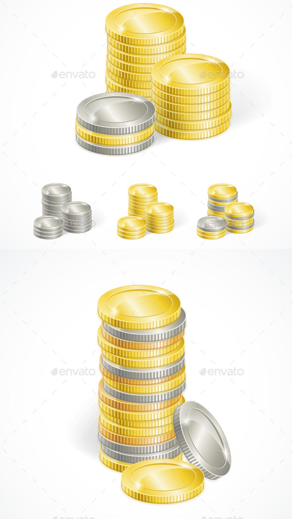 Stacks of Golden and Silver Coins - Man-made Objects Objects