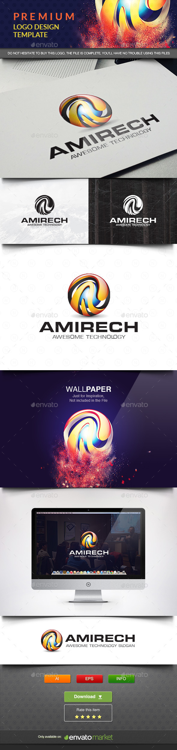 Amirech Logo Template - 3d Abstract