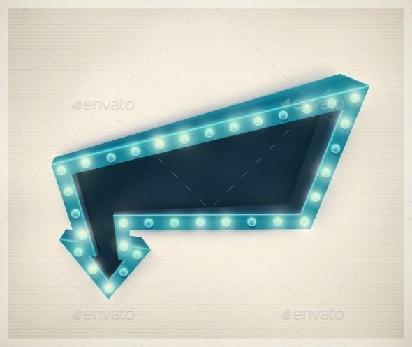 3D Retro Arrow - Decorative Symbols Decorative