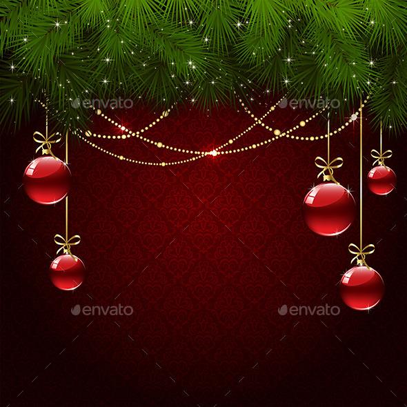 Christmas Balls on Red Wallpaper - Christmas Seasons/Holidays