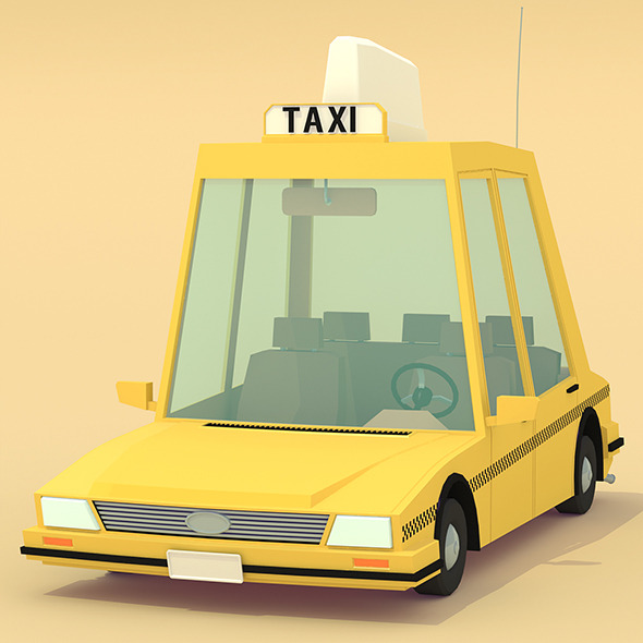 Low poly yellow cab - 3DOcean Item for Sale