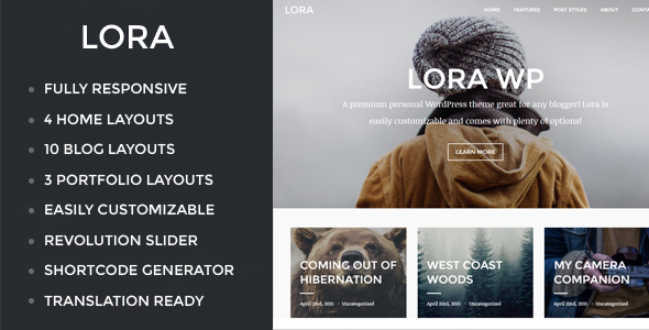 Lora – Responsive WordPress Blog & Portfolio Theme