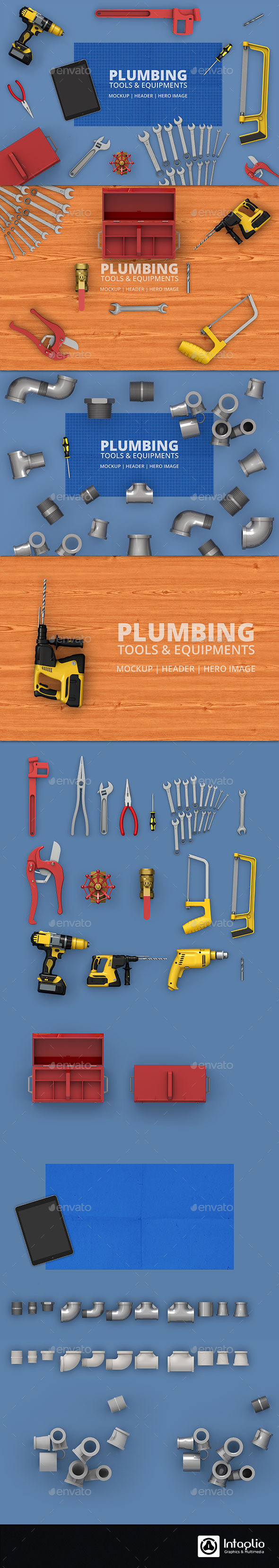 Plumbing Tools & Equipment's Mockup | Hero-Image - Hero Images Graphics