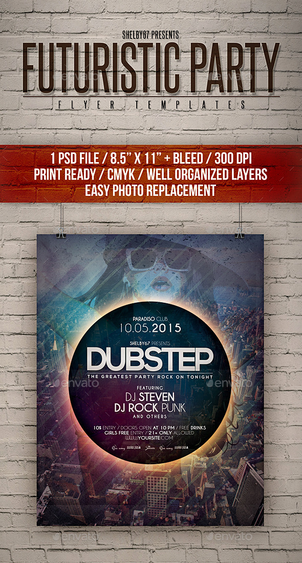 Futuristic Party Flyer Templates - Clubs & Parties Events