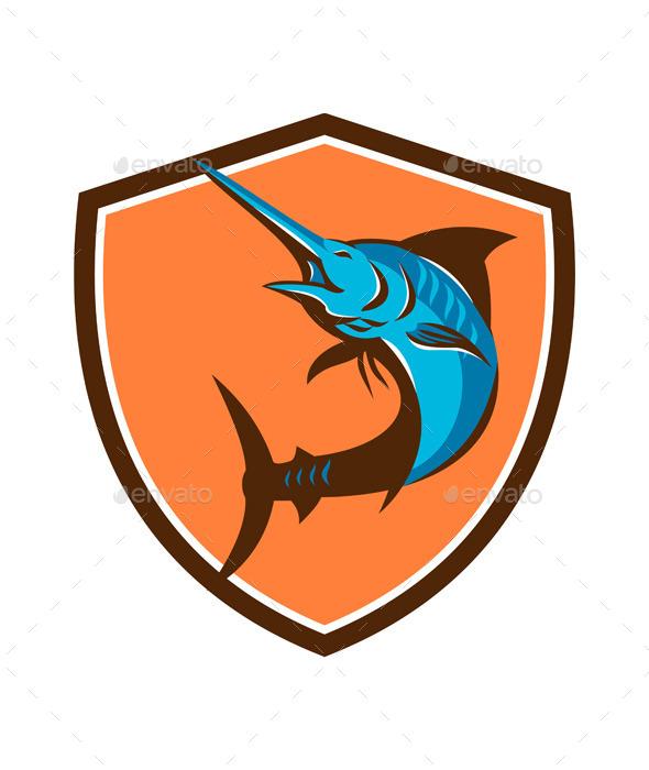 Blue Marlin Fish Jumping Retro Shield  - Animals Characters