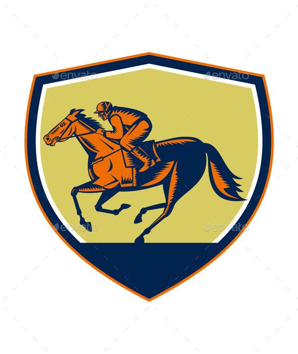 Jockey Horse Racing Shield Woodcut - Sports/Activity Conceptual