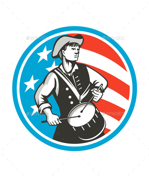 American Patriot Drummer USA Flag Retro Circle - People Characters
