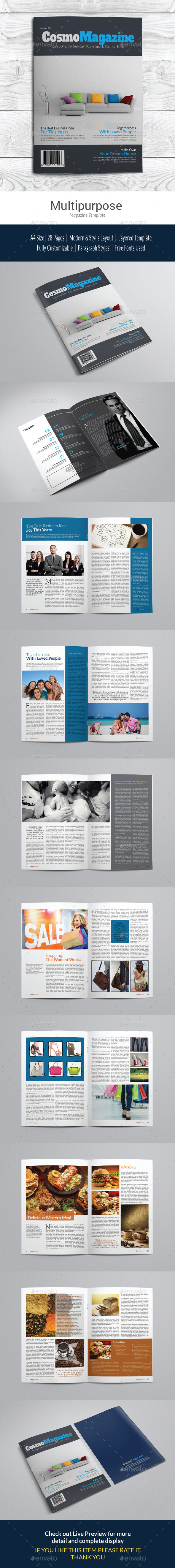 Multipurpose Cosmo Magazine Template - Magazines Print Templates