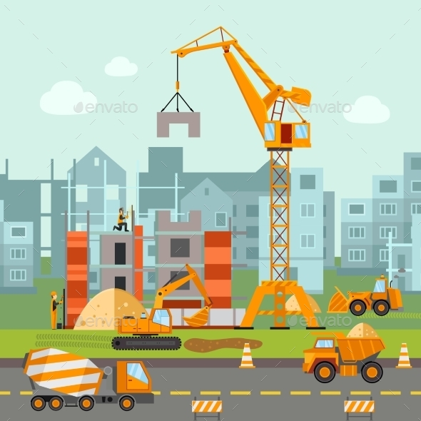 Building Work Illustration - Buildings Objects