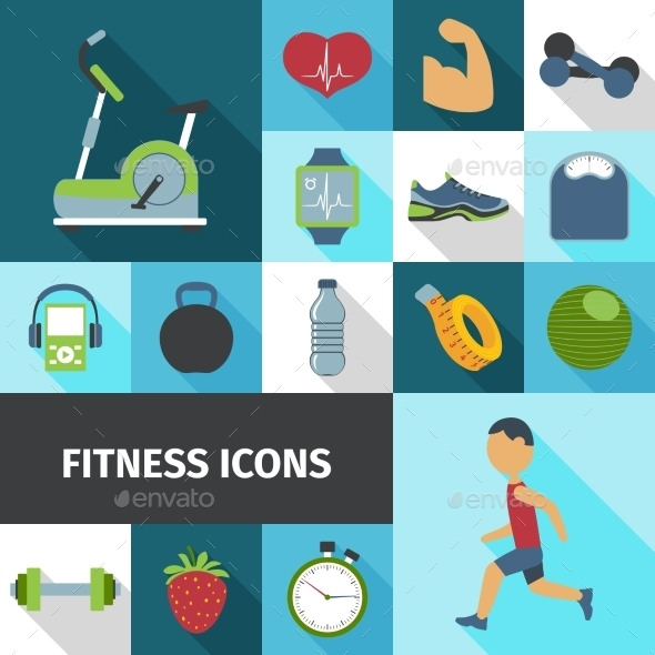 Fitness Icons Flat Shadow Set  - Miscellaneous Icons