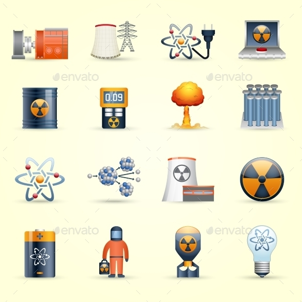 Nuclear Energy Icons Yellow Background - Technology Icons