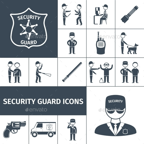 Security Guard Black Icons Set - Miscellaneous Characters