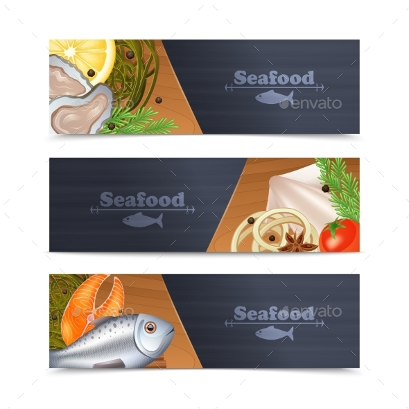 Seafood Banner Set - Food Objects