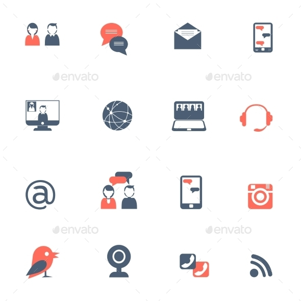 Social Network Black Red Icons Set - Web Icons