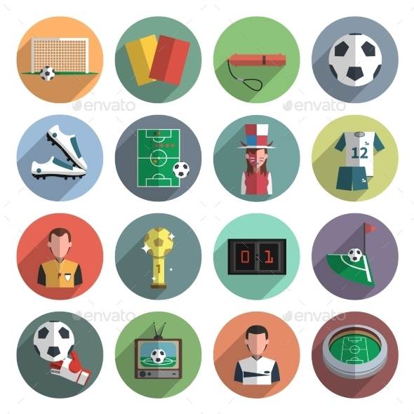 Soccer Icons Set Flat - Objects Icons