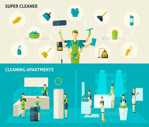 Super Cleaner Flat Banners Set - Services Commercial / Shopping